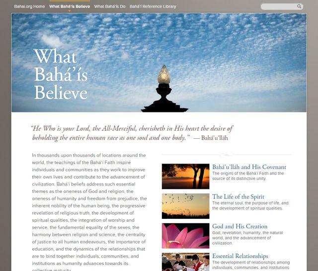 "The landing page for the ""What Baha'is Believe"" section of the new Bahai.org website."
