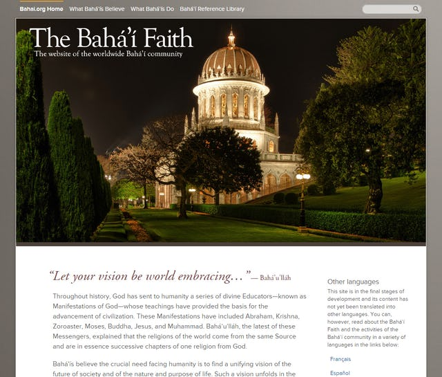 The home page of the new Bahai.org website.