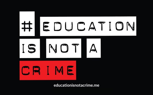 A recent statement from Archbishop Desmond Tutu comes as part of the Education is Not a Crime campaign.