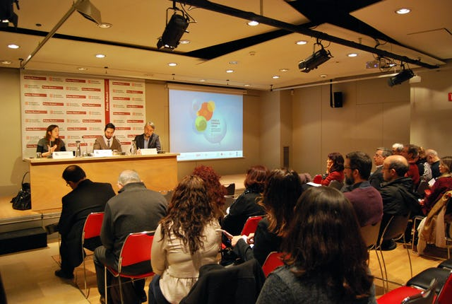 "A panel presentation and discussion on ""religion and social change"", during a conference on religion and governance held in Barcelona, Spain."