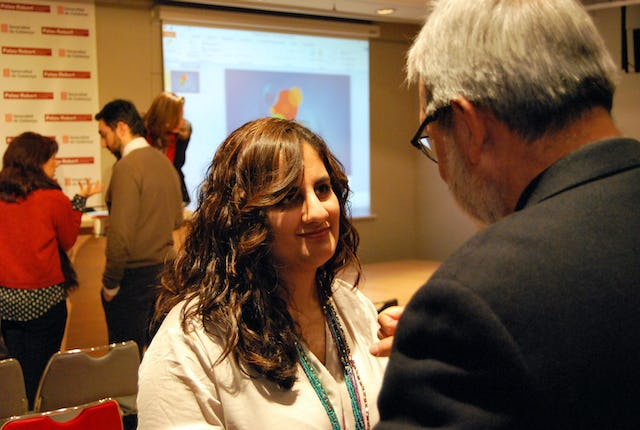"Dr. Nuria Vahdat after her presentation, ""What is governance?"" at the conference on religion and governance held in Barcelona, Spain."