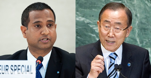 Ahmed Shaheed (left), the UN Special Rapporteur on human rights in Iran, and Secretary-General Ban Ki-moon (right). UN Photos/Jean-Marc Ferre and Marco Castro.
