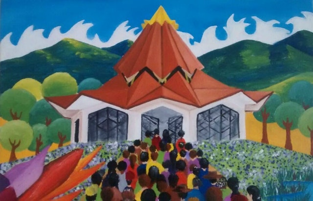 A painting of the Baha'i House of Worship for Norte del Cauca by artist Carlos Rosa.