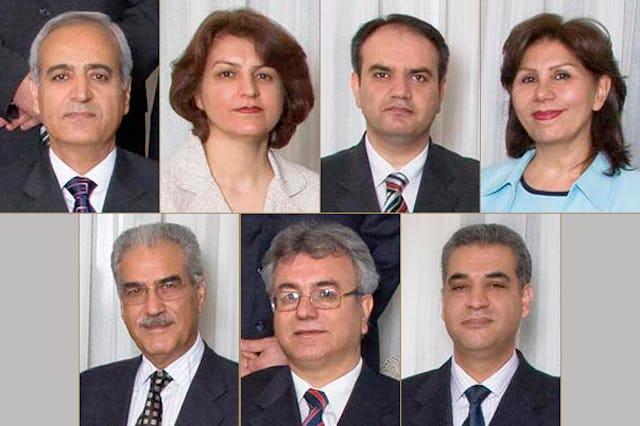 The imprisoned individuals are, top from left, Behrouz Tavakkoli, Fariba Kamalabadi, Vahid Tizfahm, Mahvash Sabet; bottom from left, Jamaloddin Khanjani, Saeid Rezaie and Afif Naeimi.