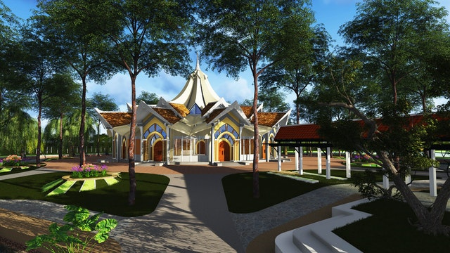 The approved temple design of the local Baha'i House of Worship in Battambang, Cambodia