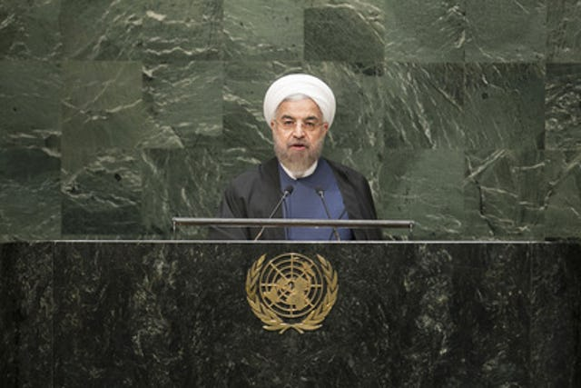 Iranian President Hassan Rouhani, addressing the United Nations on 28 September 2015 (UN Photo)