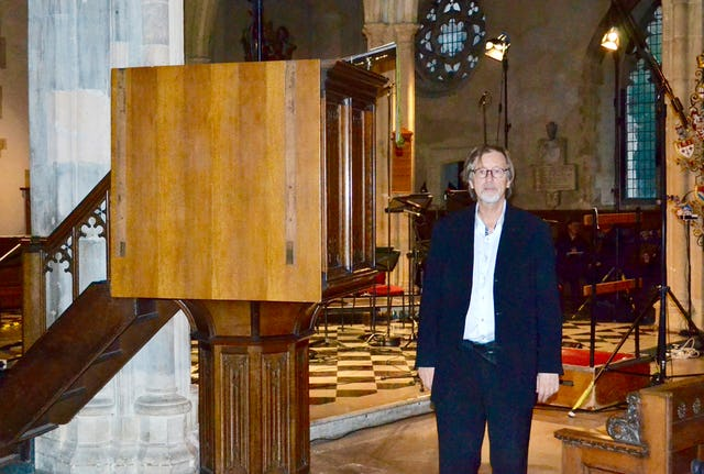Norwegian composer Lasse Thoresen pictured in St. Giles' Cripplegate church, London, ahead of a performance of his composition based on a prayer by Baha'u'llah, 'Mon Dieu, mon Adore', 30 September 2015.