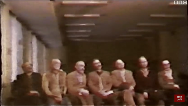 Previously unseen footage of the 1981 trial of members of the governing body of the Baha'i community in Iran—executed by a firing squad shortly after their court proceedings—has been broadcast for the first time as part of a BBC documentary about Iran's judicial system. (photo: BBC/screenshot)
