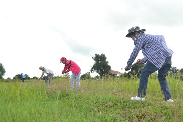 Community members work together to prepare the land for the groundbreaking of the Baha'i House of Worship in Battambang.