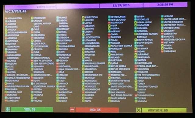 Tally board from the Third Committee of the UN General Assembly passes resolution on the promotion and protection of human rights in Iran.
