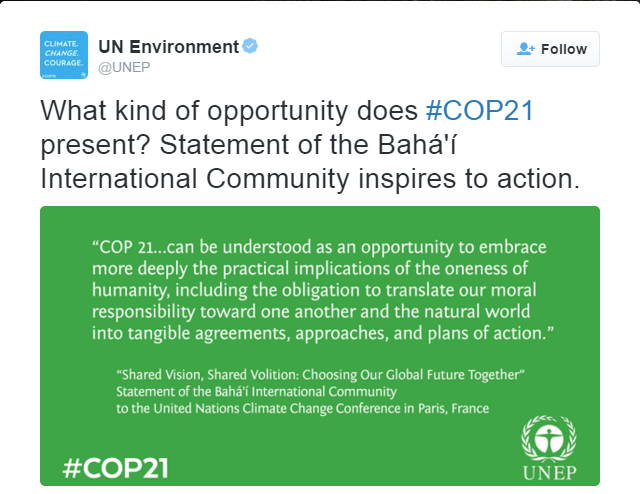 """The UN Environmental Programme (UNEP) tweets a passage from the BIC's official statement for COP21, titled """"Shared Vision, Shared Volition: Choosing Our Global Future Together""""."""