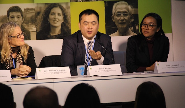 BIC representative Serik Tokbolat speaks on a panel regarding community resilience in the face of climate-driven extreme events.
