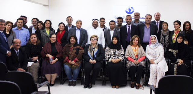 Participants who attended Dr. El-Hady's presentation on the role of women in establishing peace on 9 December 2015.