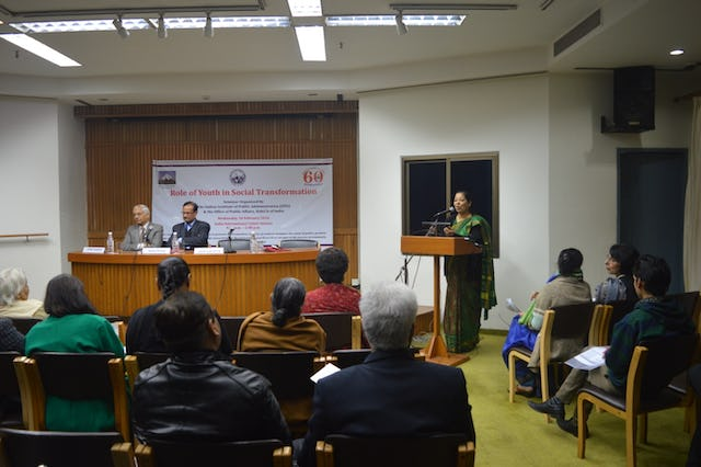 "Ms. Kiran Soni Gupta—Additional Secretary, Ministry of Youth Affairs and Sports, Government of India—delivering the inaugural address at the seminar on ""Role of Youth in Social Transformation"" in New Delhi."