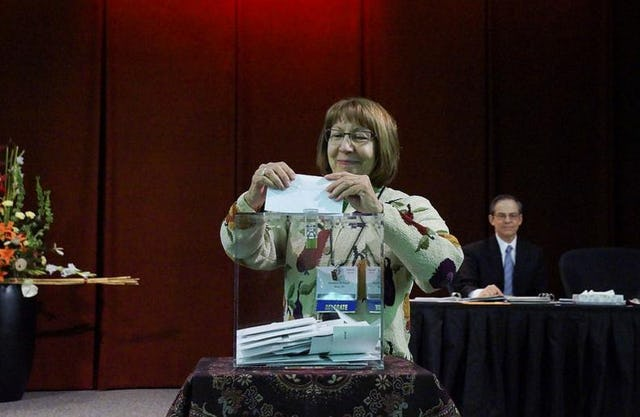 Delegate casts ballot at the 2016 national convention in the United States.