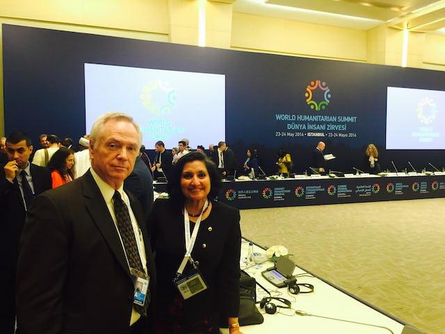 Steve Karnik and Bani Dugal, representatives of the Baha'i International Community at the World Humanitarian Summit in Istanbul on May 23, 2016.