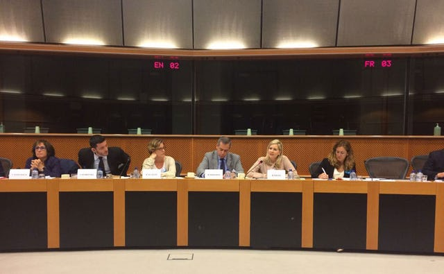 "Rachel Bayani (second from the right), BIC representative in Brussels, speaks at the recent seminar titled ""Turning words into action to address anti-Semitism, intolerance and discrimination"", organized by European Parliament ARDI and OSCE."