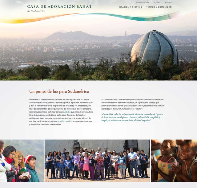 The recently launched website for the Baha'i House of Worship in Santiago, Chile.