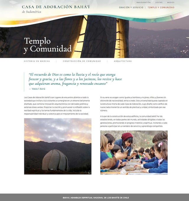Interior page on Temple and Community.