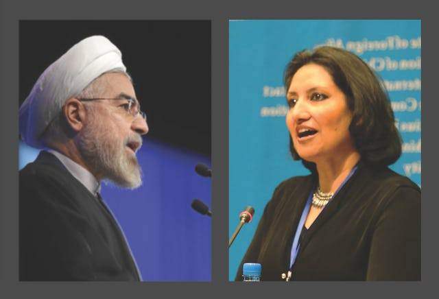 Iranian President, Hassan Rouhani (left); Principal Representative of the Baha'i International Community to the United Nations, Bani Dugal (right).