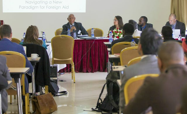 """BIC Representative Prof. Techeste Ahderom chairing a session at a policy dissemination event """"Emerging partners in Africa's post-conflict recovery"""", held in Addis Ababa in June 2016."""