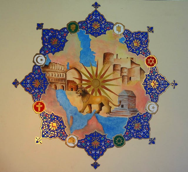 "Artwork by Ayatollah Abdol-Hamid Masoumi-Tehrani, which he has divided into eight parts corresponding with eight religious groups in the country. He has dedicated parts of the painting to Zoroastrians, Jews, Christians, Mandaeans, Yarsanians, Baha'is, and Sunni and Shia Muslims in the country, all of whom he considers ""essential aspects of Iran's national culture as well as the entire region's spiritual and religious reservoir."""