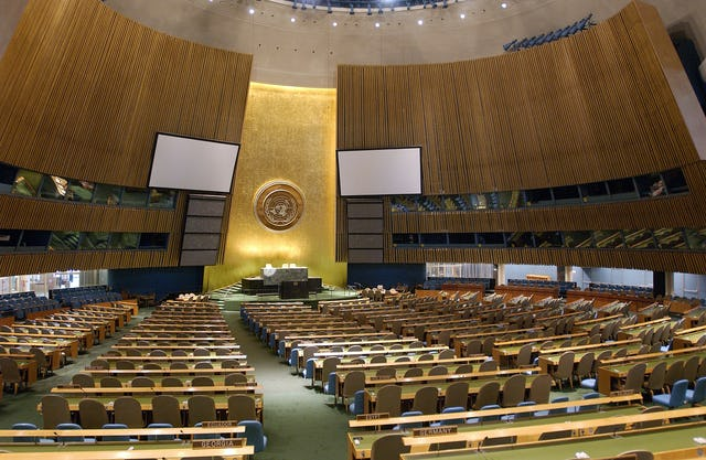 An interior view of the United Nations General Assembly hall, New York City. Photo credit: UN/Sophia Paris