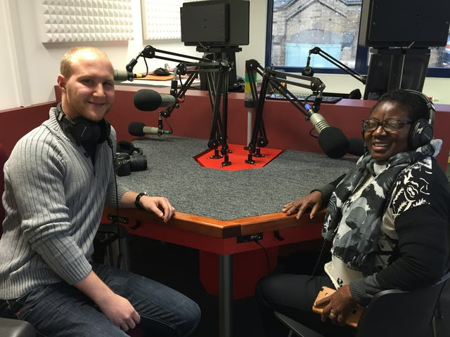 Mr. Yves Wiltgen of Unity Foundation with Mrs. Maina Mkandawire, director of Bambino Foundation, during an interview with a radio station in Luxembourg