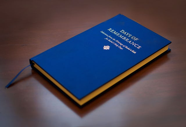 The new volume of Baha'i sacred texts, Days of Remembrance, was released today. It offers forty-five selections revealed specifically for, or relating to, the nine holy days annually commemorated by the Baha'i community.
