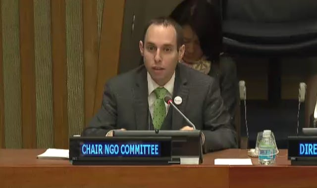 Daniel Perell speaking at the 55th UN Commission for Social Development.