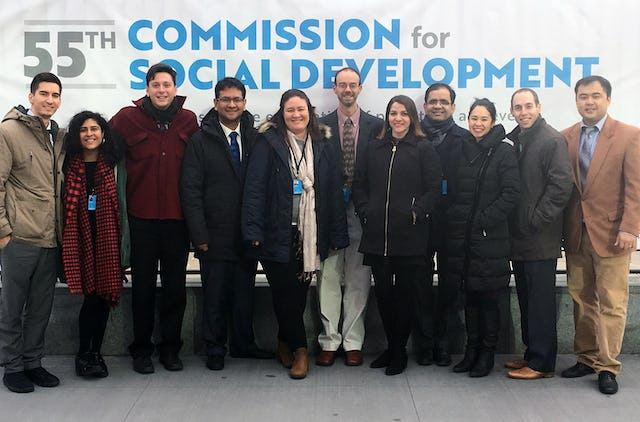 The BIC delegation to the 55th Commission for Social Development. Left to right: Aaron Dahm, Yasmin Roshanian, Eric Farr, Rodrigo Lemus, Bita Correa, Mark Scheffer, Nava Kavelin, Arash Fazli, Saphira Rameshfar, Daniel Perell, and Serik Tokbolat.