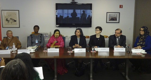 At the discussion hosted by the BIC to present its statement, panellists             from several prominent NGOs joined Bani Dugal, Principal Representative of             BIC to the UN (center), in a panel discussion  on the economic structure             of society, the role of the family, and the period of youth as they relate             to gender equality.