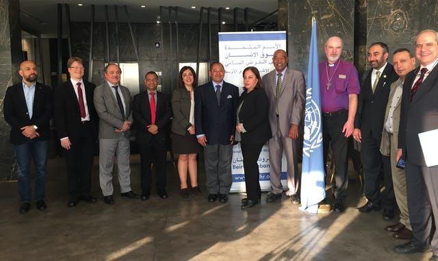 "Several of the participants at the meeting of experts on ""Faith for Rights,"" organized by the Office of the United Nations High Commissioner for Human Rights in Beirut from 28-29 March 2017. Among those pictured are Ahmed Shaheed, UN Special Rapporteur on freedom of religion or belief, and Diane Ala'i, representative of the BIC to the UN in Geneva (fourth and fifth from the left, respectively)."