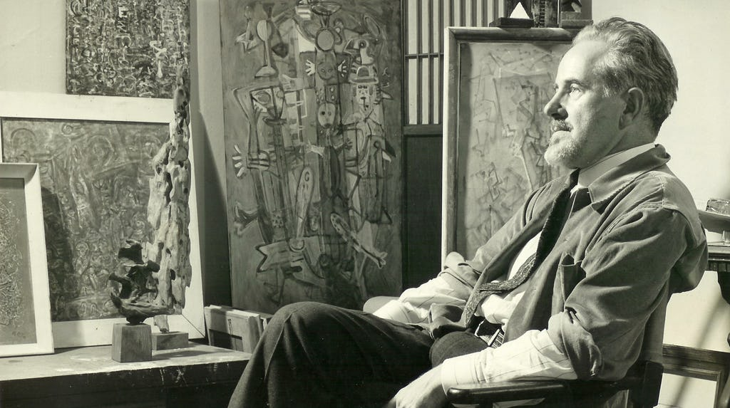 Mark Tobey in his studio, 1949, Courtesy Arthur Lyon Dahl. Photo by Larry Novak