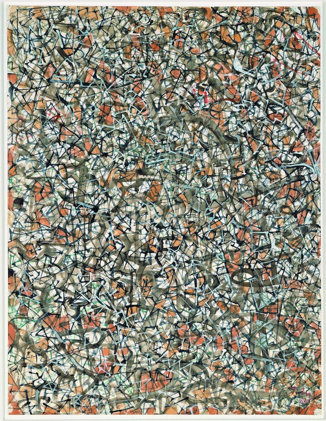 Mark Tobey Cammino della storia(Advance of history), 1964 Guazzo e acquerello su carta 62.2 x 50.1 cm Peggy Guggenheim Collection, Venice