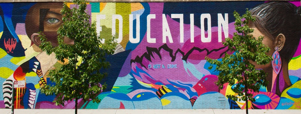 The Education is Not a Crime initiative has found street art to be a powerful instrument for raising consciousness about the denial of education to Iranian Baha'is. This mural by artist Elle is painted on the back of a building on 126th Street in Harlem.