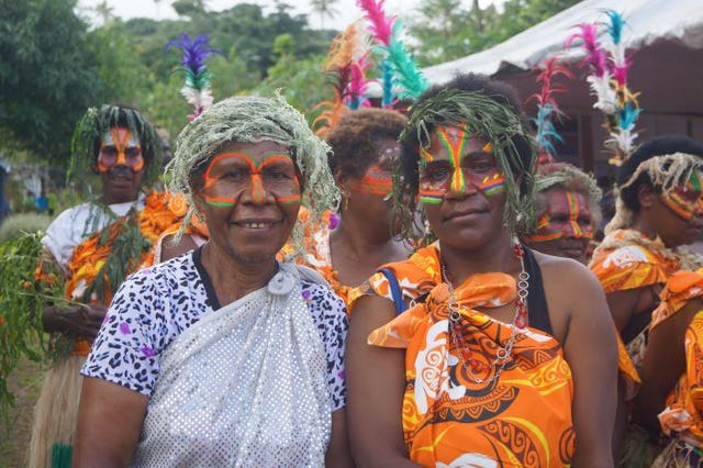 Many of the island's inhabitants were dressed in Tannese traditional costumes to welcome the unveiling of the Temple design.