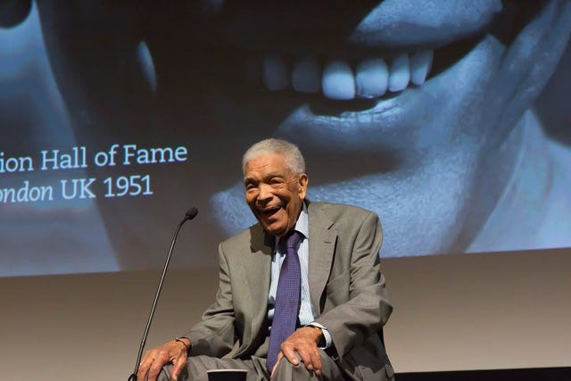 Earl Cameron at an event organized by the British Film Institute in October 2016 with a screening of Pool of London (1951)—Cameron's first film—on the occasion of his induction to the Screen Nation Hall of Fame. (Photo Screen Nation Media 2016: Photography Carl Barriteau)