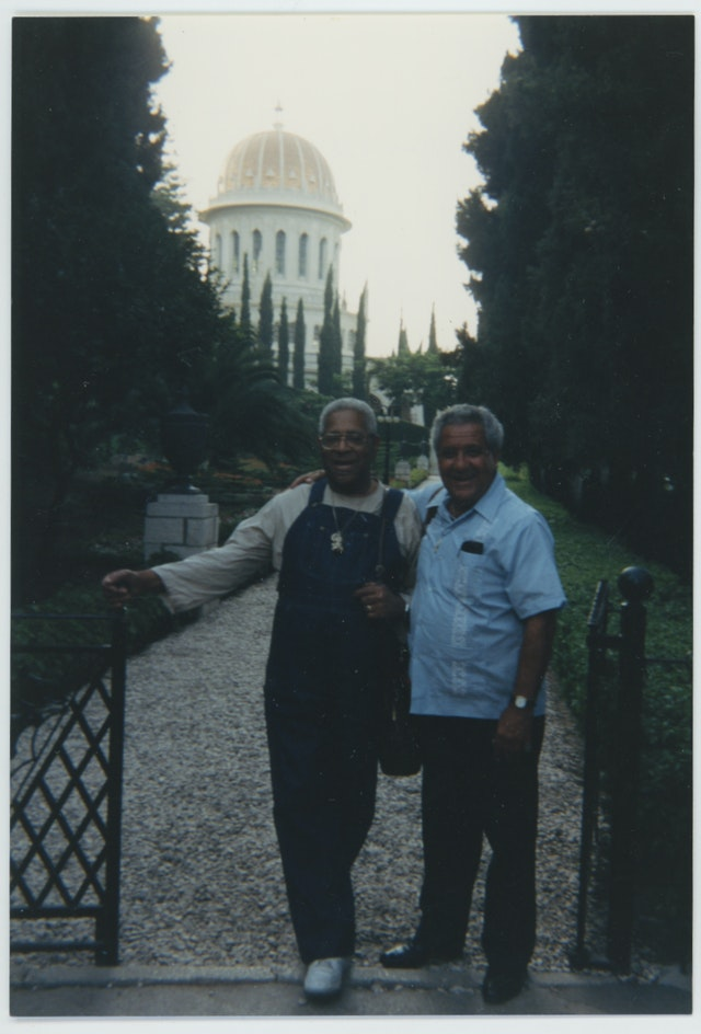 Gillespie during a visit to the Baha'i World Centre in 1985
