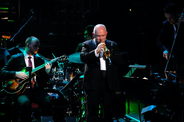 Trumpeter James Morrison performs with the James Morrison Trio and the BBC Concert Orchestra under conductor John Mauceri at the 2017 BBC Proms. (Photo courtesy of the BBC)