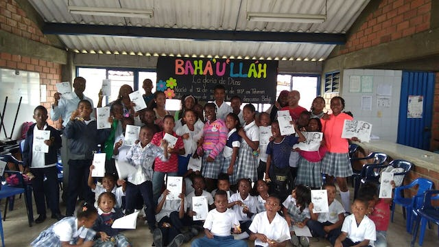 Bicentenary celebrations at a school in El Chamizo, Colombia