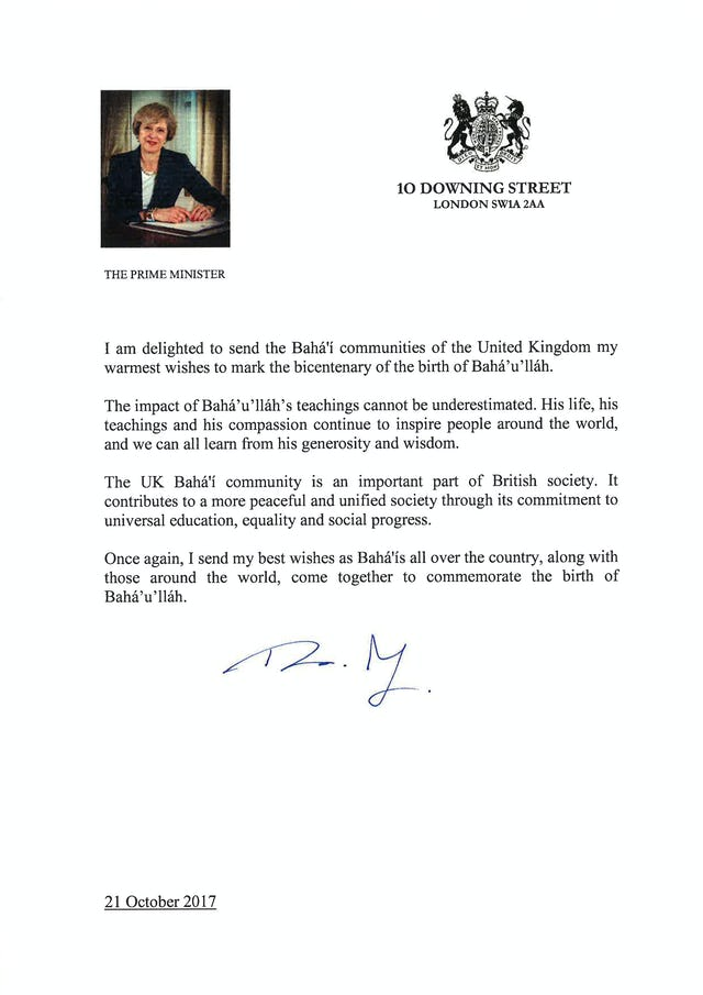 """The UK Baha'i community is an important part of British society,"" wrote Prime Minister Theresa May."