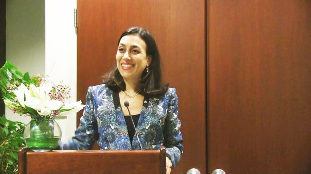 Laura Elena Flores Herrera, Permanent Representative of Panama to the United Nations, speaks in New York at the BIC's celebration.