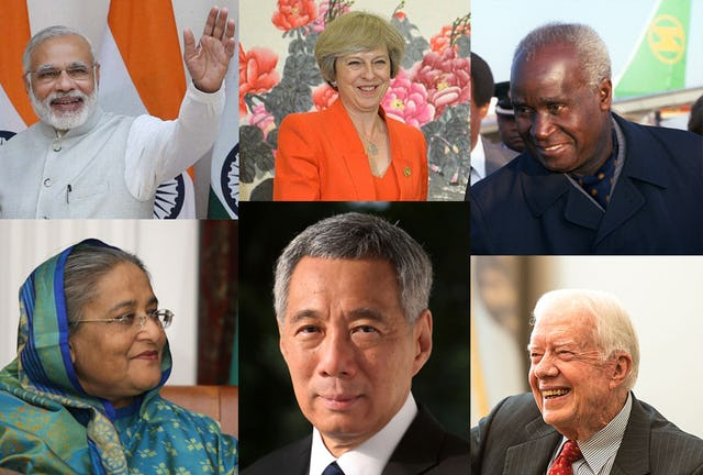 Some of leaders that addressed messages of support and recognition to the Baha'i community on the occasion of the bicentenary included heads of state and government. Top (left to right): Indian Prime Minister Narendra Modi; Prime Minister of the United Kingdom Theresa May; and first President of Zambia Kenneth Kaunda. Bottom (left to right): Prime Minister of Bangladesh Sheikh Hasina; Prime Minister of Singapore Lee Hsien Loong; and former American President Jimmy Carter.