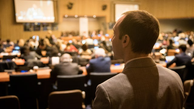BIC Representative Daniel Perell at the 56th Commission for Social Development. Mr Perell is chairperson of the NGO Committee for Social Development.
