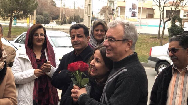Friends and family greet Saeid Rezaie after he was released from prison following an unjust 10-year sentence.