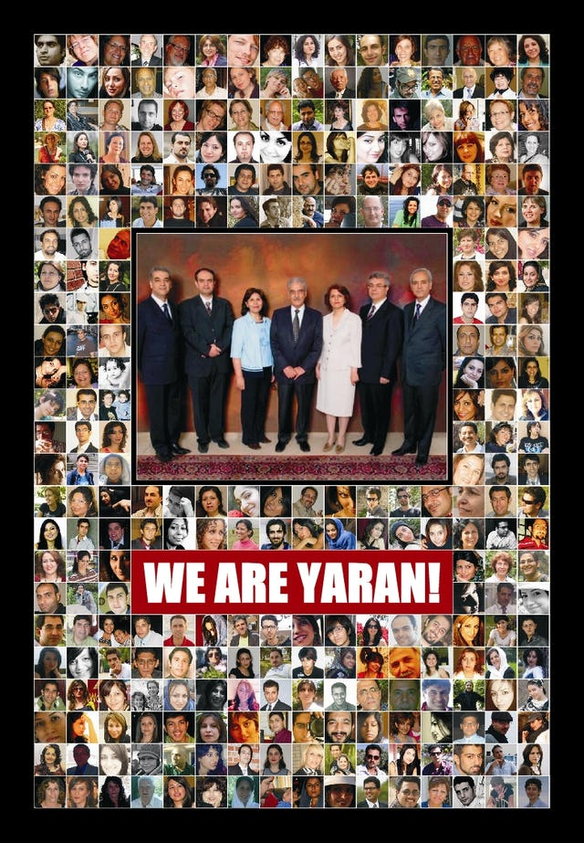"""A design created by the Human Rights Activists News Agency features a photograph taken of the seven imprisoned Baha'i leaders before they were arrested. Around it are the faces of some of the HRANA campaign's supporters, accompanied by the slogan, """"We are Yaran!"""" - """"We are Friends!"""""""