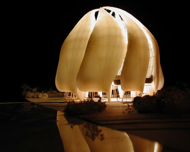 "An early model of the Baha'i House of Worship for the South American continent, simulating how it will appear at night. The Architectural Review wrote that it ""should become a gentle and welcoming beacon to the whole of South America."""