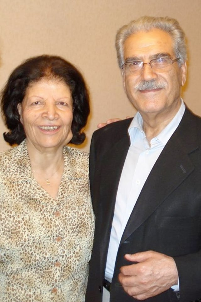 Mrs. Ashraf Khanjani, pictured with her husband, Jamaloddin Khanjani. Mrs. Khanjani died on Thursday 10 March at the age of 81. The couple were married for more than 50 years.