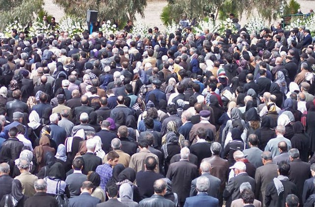 The funeral of Mrs. Ashraf Khanjani, held in Tehran on Friday 11 March 2011. Between 8,000 and 10,000 mourners from throughout Iran were reportedly in attendance.